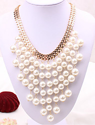 cheap -Women's Collar Necklace Tassel Fringe Statement Classic Imitation Pearl Chrome Gold 42 cm Necklace Jewelry 1pc For Festival