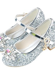 cheap -Girls' Flower Girl Shoes PU Heels Little Kids(4-7ys) Crystal Pink / Silver Summer