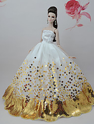cheap -Doll accessories Doll Clothes Doll Dress Wedding Dress Party / Evening Wedding Ball Gown Floral Botanical Tulle Lace Polyester For 11.5 Inch Doll Handmade Toy for Girl's Birthday Gifts  Doll Not