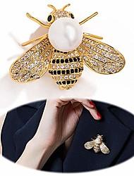 abordables -Femme Broche Tropical Abeille Luxe Elégant Coloré Perle Plaqué or Imitation Diamant Broche Bijoux Dorée Argent Pour Mariage Fiançailles Cadeau Travail Promettre