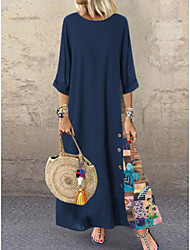 cheap -Women's A-Line Dress Cotton Maxi long Dress - 3/4 Length Sleeve Floral Patchwork Spring & Summer Plus Size Abaya Holiday Vacation Cotton Red Navy Blue L XL XXL XXXL XXXXL XXXXXL