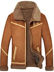 cheap -Men's Daily Basic Winter Plus Size Regular Jacket, Solid Colored Turndown Long Sleeve Polyester / Lamb Fur Camel / Khaki
