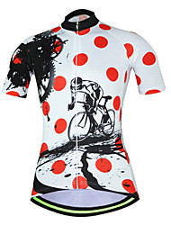 Недорогие -21Grams В точечку Шестерня Жен. С короткими рукавами Велокофты - Красный / Белый Велоспорт Джерси Верхняя часть Дышащий Влагоотводящие Быстровысыхающий Виды спорта Терилен Горные велосипеды Одежда
