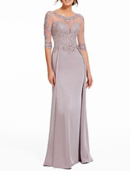 cheap -Sheath / Column Jewel Neck Sweep / Brush Train Chiffon / Lace Half Sleeve Elegant & Luxurious Mother of the Bride Dress with Appliques / Lace / Pleats 2020