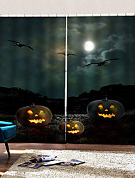 Недорогие -три летучие мыши фон шторы уф цифровая печать занавес затемнения влагостойкие пользовательские ткани для штор готовые для гостиной / спальни