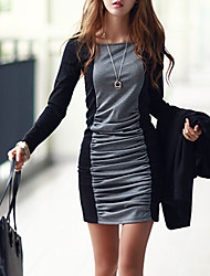 cheap -Women's Mini Gray Dress Basic Bodycon Color Block Black & Gray Patchwork S M Slim