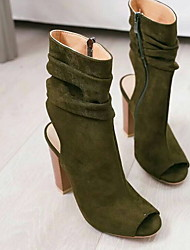 cheap -Women's Boots Chunky Heel Peep Toe Canvas Mid-Calf Boots Spring &  Fall Black / Army Green / Brown