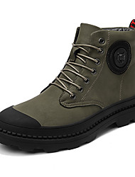 cheap -Men's Leather Shoes Cowhide Winter Sporty / Casual Boots Warm Booties / Ankle Boots Black / Khaki