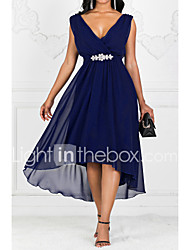 cheap -Women's Party Casual Maxi A Line Dress - Solid Colored V Neck Purple Red Navy Blue S M L XL
