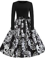 Недорогие -Жен. С летящей юбкой Платье - Без рукавов Геометрический принт Уличный стиль Halloween Черный S M L XL XXL