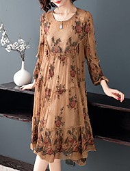 cheap -Women's Plus Size Sophisticated Elegant A Line Dress - Floral Orangutan Rose Rubik's Cube, Lace Ruffle Embroidered Camel M L XL XXL