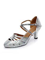 cheap -Women's Modern Shoes / Ballroom Shoes Synthetics T-Strap Heel Buckle Flared Heel Customizable Dance Shoes Silver / Yellow / Performance / Practice