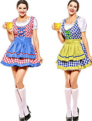 cheap -Bavarian Costume Women's Food&Drink Halloween Performance Theme Party Costumes Women's Dance Costumes Polyester Lace-up