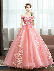 cheap -Ball Gown Floral Pink Quinceanera Prom Dress Off Shoulder Sleeveless Floor Length Tulle with Pattern / Print Appliques 2020