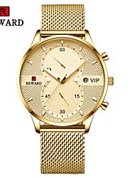 cheap -Men's Dress Watch Quartz Modern Style Sporty Black / White / Blue 30 m Calendar / date / day Chronograph Creative Analog Fashion Minimalist - Black White Gold