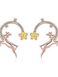 cheap -Authentic 925 Sterling Silver Running Elk Deer Rose Gold Color Stud Earrings for Women Fashion Earrings Jewelry