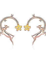 Недорогие -Аутентичные стерлингового серебра 925 пробы лося оленя розового золота цвет серьги для женщин серьги ювелирные изделия