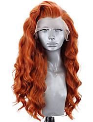 Недорогие -Синтетические кружевные передние парики Волнистый Естественные кудри Стиль Свободная часть Лента спереди Парик Блондинка Оранжевый Искусственные волосы 8-12 дюймовый Жен. Мягкость Эластичный Женский