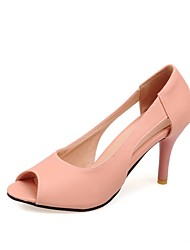 cheap -Women's Heels Stiletto Heel Peep Toe Faux Leather Casual / Minimalism Walking Shoes Summer / Spring & Summer Yellow / Pink / Daily / 3-4