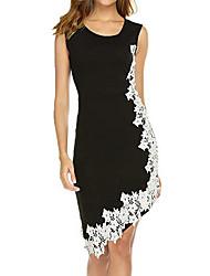 cheap -Women's Plus Size Elegant Asymmetrical Sheath Dress - Solid Colored Lace Black Purple Lavender S M L XL