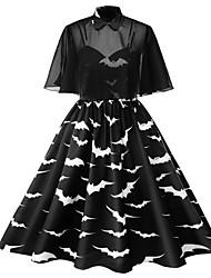 cheap -Women's Halloween A Line Dress - Color Block Shirt Collar Black L XL XXL XXXL