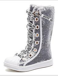 cheap -Girls' Microfiber Boots Little Kids(4-7ys) Comfort Black / White Fall / Knee High Boots