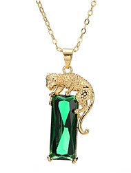 cheap -Women's Green Onyx Pendant Necklace Long Tiger Fashion Brass Gold Plated Light Green 40+5 cm Necklace Jewelry 1pc For Gift Daily