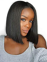 cheap -Synthetic Lace Front Wig Straight Middle Part Lace Front Wig Short Black#1B Synthetic Hair 8-10 inch Women's Adjustable Heat Resistant Party Black