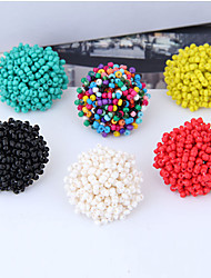 cheap -Women's Stud Earrings Earrings Beads Ball Simple European Ethnic Fashion Earrings Jewelry Black / Green / White For Daily Stage Street Holiday Work 1 Pair