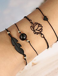 cheap -4pcs Women's Rope Floral Theme Leaf Lotus Asian Alloy Bracelet Jewelry Black For Party Gift Daily Holiday Festival
