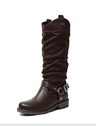 cheap -Women's Boots Block Heel Pointed Toe PU Mid-Calf Boots Winter Black / Brown / Yellow