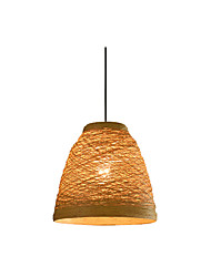cheap -1-Light Wrattan Woven Pendant Light Single Beach Pendant Lights Hand Wove Suspension Lighting for Bar Dining Room Restaurant