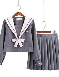 Недорогие -Вдохновлен Косплей Школьницы Аниме Косплэй костюмы Японский Косплей Костюмы Косплей вершины / дна Школьная форма Косыночная повязка Кофты Юбки Назначение Жен.
