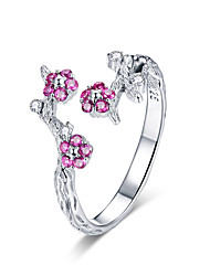 cheap -100% 925 Sterling Silver Winter Blooming Plum Flower Open Size Rings for Women Wedding Engagement Jewelry