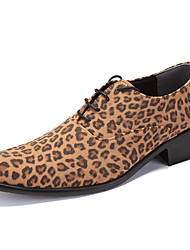 cheap -Men's Formal Shoes PU Spring / Fall Casual / British Oxfords Height-increasing Leopard Brown / Khaki / Party & Evening / Party & Evening / Dress Shoes