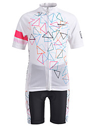 cheap -Nuckily Boys' Girls' Short Sleeve Cycling Jersey with Shorts - Kid's White Bike Clothing Suit Breathable Moisture Wicking Quick Dry Sports Spandex Chinlon Mountain Bike MTB Clothing Apparel