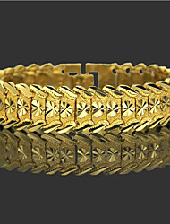 cheap -Men's Chain Bracelet Wide Bangle Classic Heart Precious Stylish Trendy Brass Bracelet Jewelry Gold For Daily Work / Gold Plated