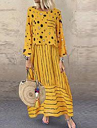 cheap -Women's Daily Wear Basic Shift Dress - Geometric White Yellow M L XL XXL