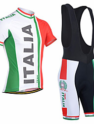 cheap -21Grams Men's Short Sleeve Cycling Jersey with Bib Shorts Red and White Italy National Flag Bike Clothing Suit Breathable Moisture Wicking Quick Dry Anatomic Design Sports Italy Mountain Bike MTB