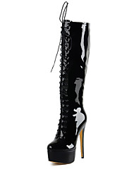 cheap -Women's Boots Knee High Boots Stiletto Heel Round Toe Patent Leather Knee High Boots Fall & Winter Black / Wine / White