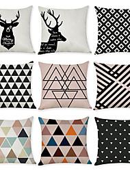 Недорогие -9 штук Лён Наволочка, геометрический Животное европейский Мода Бросить подушку