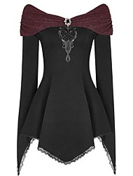 cheap -Women's Halloween Blouse - Color Block Lace V Neck Wine