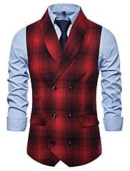 cheap -Men's Vest, Plaid V Neck / Shawl Lapel Cotton / Polyester Red / Gray