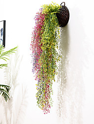 cheap -1Pc Simulation Gold Bell Willow Wall Hanging Hotel Wall Ceiling Plant Rattan Restaurant Decoration Flower Green Plant