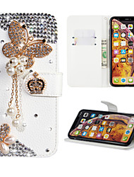 cheap -Case For Samsung Galaxy Huawei Note 10 Wallet / Card Holder / Rhinestone Full Body Cases Butterfly PU Leather