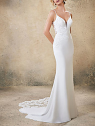cheap -Mermaid / Trumpet Wedding Dresses V Neck Court Train Satin Spaghetti Strap Boho Backless with Beading Lace Insert Appliques 2020