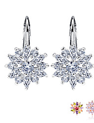 cheap -Real  Silver Color Stud Earrings Collection with Flower Shape Multicolor/Silver AAA Zircon For Women Jewelry