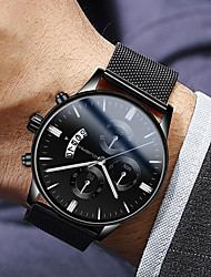 cheap -Men's Dress Watch Quartz Modern Style Stylish Stainless Steel Black 30 m Water Resistant / Waterproof Calendar / date / day Casual Watch Analog Luxury Fashion - Black Rose Gold Blue One Year Battery