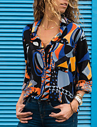 cheap -Women's Daily Street chic Shirt - Geometric Print V Neck Blue