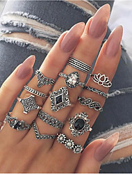 cheap -Women's Ring Set Multi Finger Ring 15pcs Silver Alloy Vintage European Fashion Party Daily Jewelry Retro Drop Flower Lotus